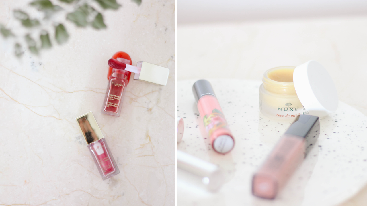 four glossy lip products - maybelline vivid hot lacquer charmer, mac fruity juicy cha cha cha, nuxe reve de miel, clarins instant light lip oil,clinique chubby plump & shine
